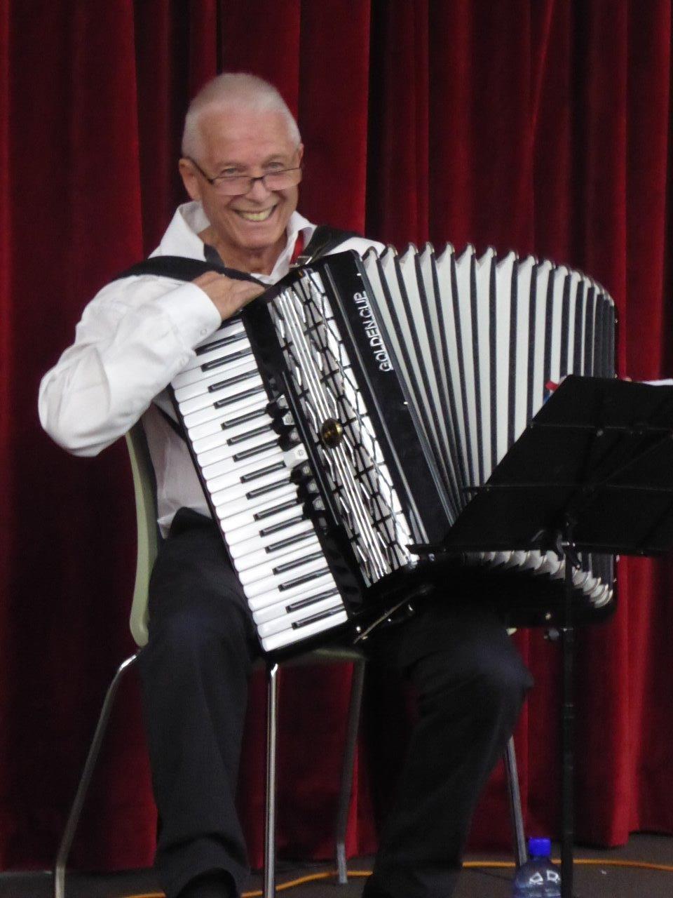 Francesco Sofo enjoys playing the piano accordion