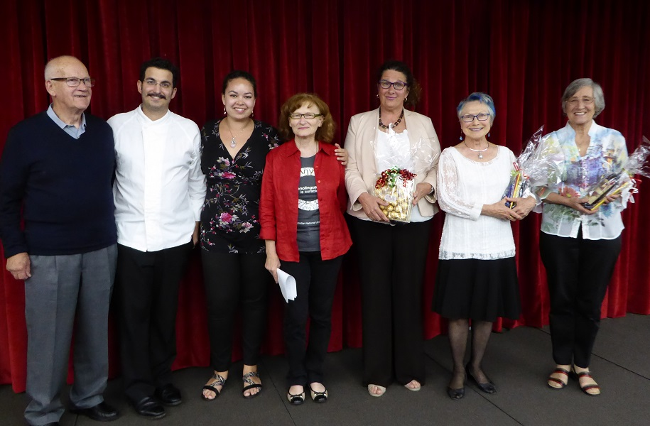 From left - the jury Ottavio Bagozzi, chef Francesco Balestrieri and Tamsin Hong), Francesca Foppoli, and the three winners (Cristina, Yvette and Catharina)