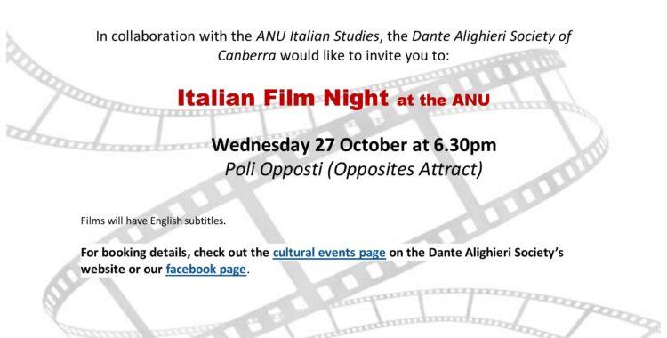 Film Night at ANU - Poli Opposti (Opposites Attract)